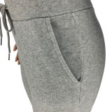 Autumn Winter Thick Drawstring Jogger Two Piece Grey Sweatpants and Hoodie Set