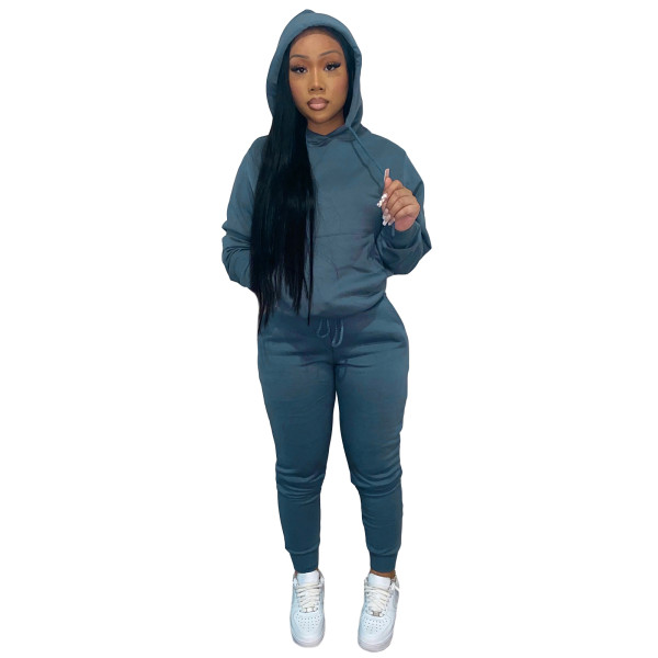 Autumn Winter Thick Drawstring Jogger Two Piece Sweatpants and Hoodie Set