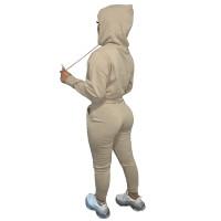 Autumn Winter Thick Drawstring Jogger Two Piece Khaki Sweatpants and Hoodie Set