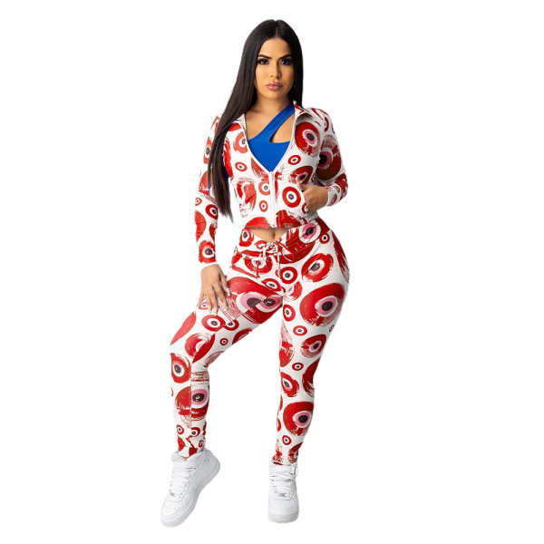 Red Hipster Evil Eye Print Long Sleeve Two Piece Outfits For Women