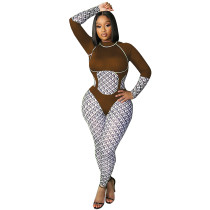 Casual Printed Long Sleeve One Piece Fall Womens Jumpsuits 2021