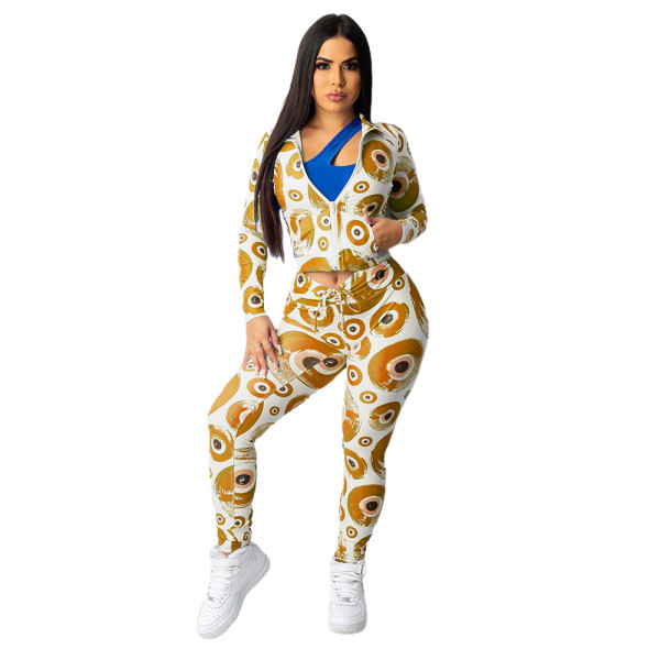 Yellow Hipster Evil Eye Print Long Sleeve Two Piece Outfits For Women