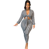 Casual Houndstooth Print Bandage Crop Top Pant Sets Women 2 Piece Outfits