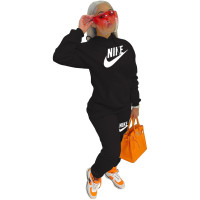 Black Nike Clothing Pockets Offset Printing Drawstring Hooded Set Women