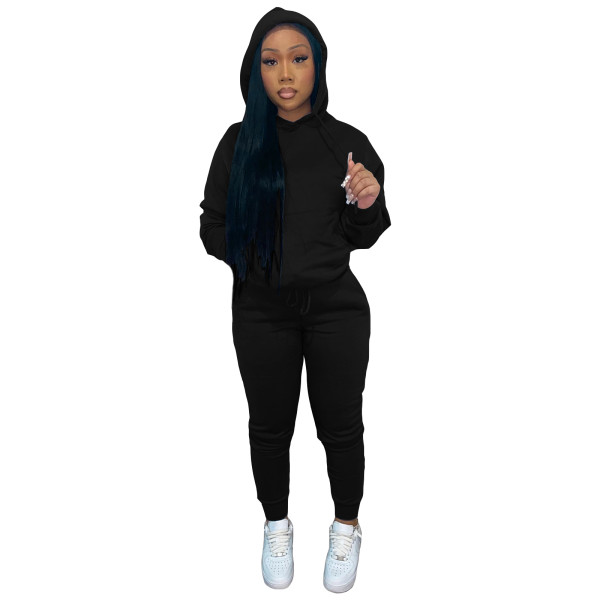 Autumn Winter Thick Drawstring Jogger Two Piece Black Sweatpants and Hoodie Set