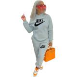 Grey Nike Clothing Pockets Offset Printing Drawstring Hooded Set Women