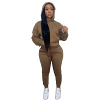 Autumn Winter Thick Drawstring Jogger Two Piece Brown Sweatpants and Hoodie Set