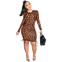 Fashion Long Sleeve Round Neck Printed Midi Dress
