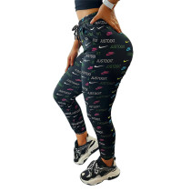 Fashion Brand Black Printed Letters Sports Pants with Pockets