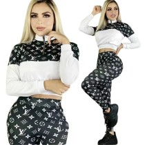 Casual Printed Letter High Neck Zipper Pant Set For Women Clothing