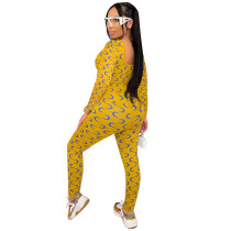 Sexy Moon Print Square Collar Long Sleeve Yellow Jumpsuit
