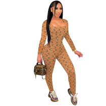 Sexy Moon Print Square Collar Long Sleeve Jumpsuit