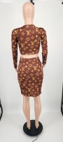 Casual Brown Designer Clothes Printed Letter V Neck Zipper Crop Top Midi Skirts Set