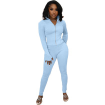 Solid Color Light Blue High Neck Zipper Up Sports Two Piece Fall Set