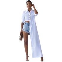 White Button Up Suit Collar Asymmetrical Shirt