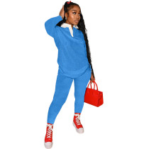 Autumn Women Print Tracksuit Polo-neck Long Sleeve Pullover Top and Workout Bodycon Trouser