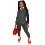 Autumn Women Black Print Tracksuit Polo-neck Long Sleeve Pullover Top and Workout Bodycon Trouser