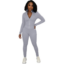 Solid Color Grey High Neck Zipper Up Sports Two Piece Fall Set