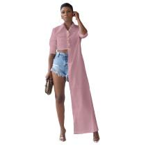 Pink Button Up Suit Collar Asymmetrical Shirt
