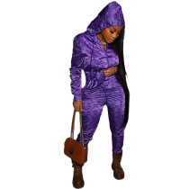 Casual Purple Designer Clothes Printed Satin Reflective Sports Hoodie Two Piece Outfits Set