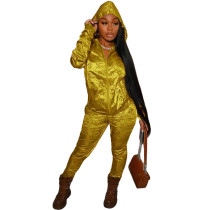 Casual Gold Designer Clothes Printed Satin Reflective Sports Hoodie Two Piece Outfits Set