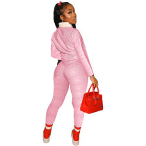 Autumn Women Pink Print Tracksuit Polo-neck Long Sleeve Pullover Top and Workout Bodycon Trouser