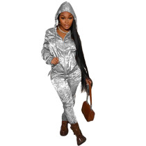 Casual Silver Designer Clothes Printed Satin Reflective Sports Hoodie Two Piece Outfits Set