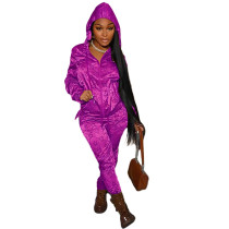 Casual Rose Designer Clothes Printed Satin Reflective Sports Hoodie Two Piece Outfits Set