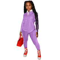 Autumn Women Purple Print Tracksuit Polo-neck Long Sleeve Pullover Top and Workout Bodycon Trouser