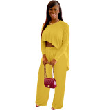 Solid Yellow Boat-Neck Top & Pants Set
