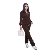 Casual Coffee Zipper Up Letter Embroidered Sports Stacked Sweatpant Two Piece Women Set