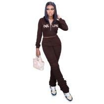 Casual Coffee Zipper Up Letter Embroidered Sports Stacked Sweatpant Two Piece Outfits Set