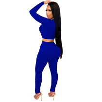 2021 Royal Blue Knitted Women's Sets Casual Printed Long Sleeve Sports Crop Top and Stacked Trousers