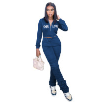 Casual Blue Zipper Up Letter Embroidered Sports Stacked Sweatpant Two Piece Outfits Set