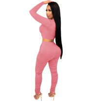 2021 Pink Knitted Women's Sets Casual Printed Long Sleeve Sports Crop Top and Stacked Trousers