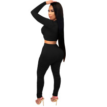 2021 Black Knitted Women's Sets Casual Printed Long Sleeve Sports Crop Top and Stacked Trousers