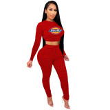 2021 Red Knitted Women's Sets Casual Printed Long Sleeve Sports Crop Top and Stacked Trousers