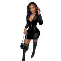 Solid Color Black Velvet Zipper Fashion Mini Dress