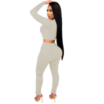 2021 Light Grey Knitted Women's Sets Casual Printed Long Sleeve Sports Crop Top and Stacked Trousers