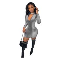 Solid Color Grey Velvet Zipper Fashion Mini Dress