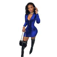 Solid Color Blue Velvet Zipper Fashion Mini Dress