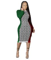 Casual Colorful Pit Printed Letter Midi Dress
