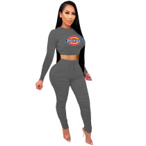 2021 Dark Grey Knitted Women's Sets Casual Printed Long Sleeve Sports Crop Top and Stacked Trousers