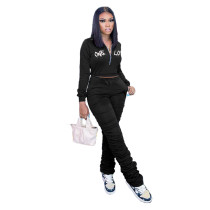 Casual Black Zipper Up Letter Embroidered Sports Stacked Sweatpant Two Piece Outfits Set