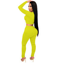 2021 Yellow Knitted Women's Sets Casual Printed Long Sleeve Sports Crop Top and Stacked Trousers