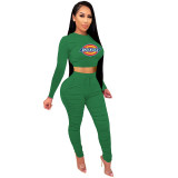 2021 Green Knitted Women's Sets Casual Printed Long Sleeve Sports Crop Top and Stacked Trousers