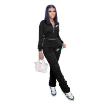 Casual Black Zipper Up Letter Embroidered Sports Stacked Sweatpant Two Piece Women Set
