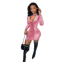 Solid Color Pink Velvet Zipper Fashion Mini Dress