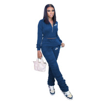 Casual Blue Zipper Up Letter Embroidered Sports Stacked Sweatpant Two Piece Women Set