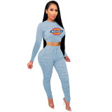 2021 Light Blue Knitted Women's Sets Casual Printed Long Sleeve Sports Crop Top and Stacked Trousers
